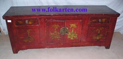Chinese Antique Long Short Painting Cabinet