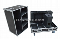 flight case for carrying four speakers