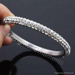 3 row crystal stainless steel bangles