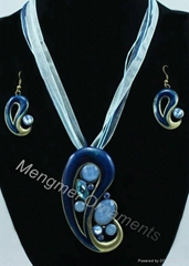 enamel pendant metallic jewelry sets