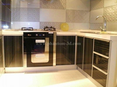 Glass tiles for kitchen splash-back decoration