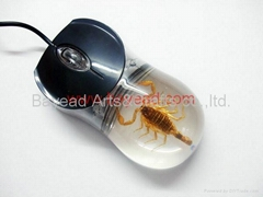 Real Scorpion Insect Amber Optical Computer Mouse For Gift