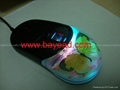 Real Butterfly in clear resin amber Optical mouse