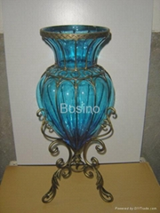 glass,metal vase,glass vase