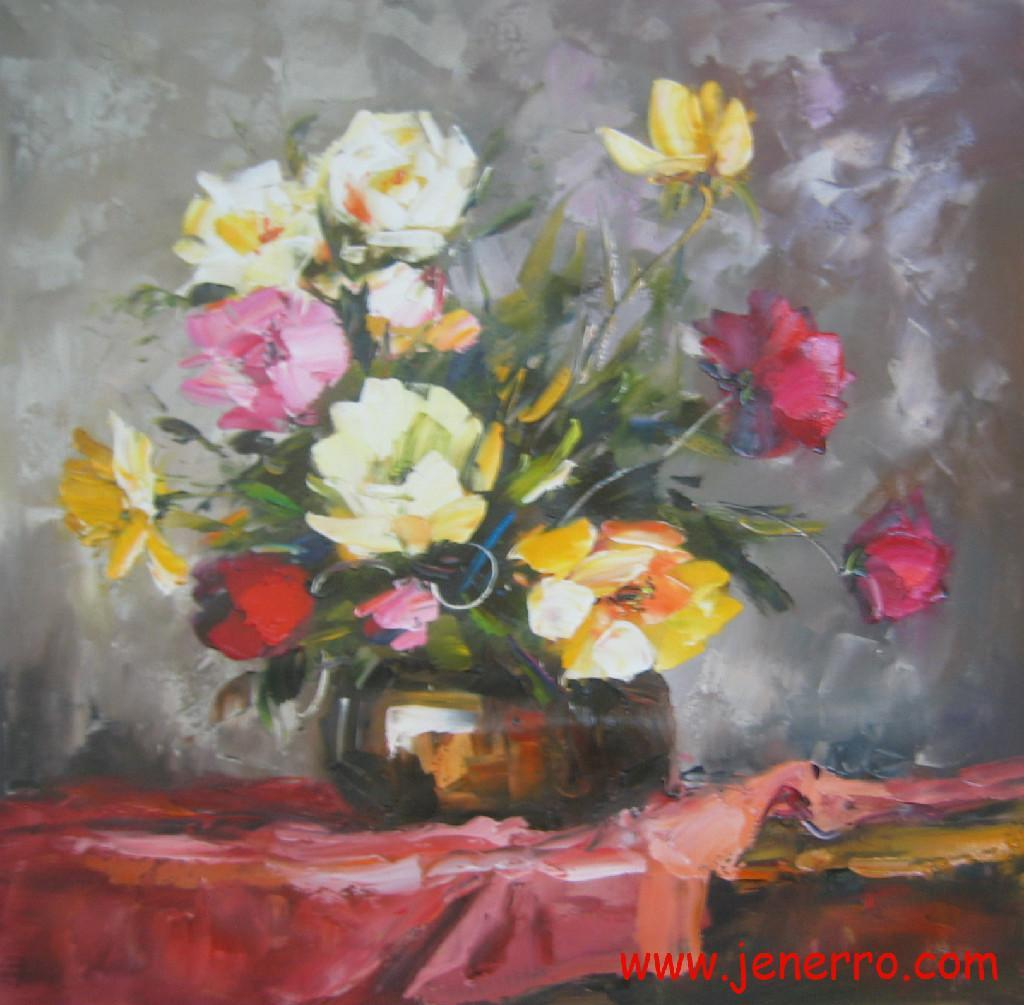 Oil paintings still flower on canvas china for Flower paintings on canvas