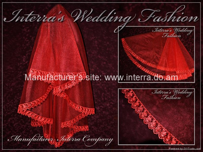 Red and white bridal veils