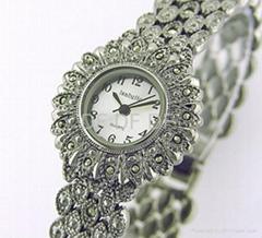純銀馬克賽石手錶silver marcasite watch