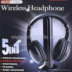 5 in 1 HIFI Wireless headphone Earphone Headset wireless Monitor FM radio for MP