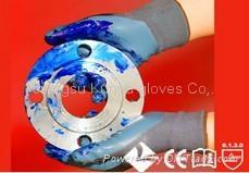 13G Nylon knitting gloves with Nitrile coated on palm