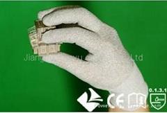 Copper/nylon knitting gloves with white Polyurethane coated