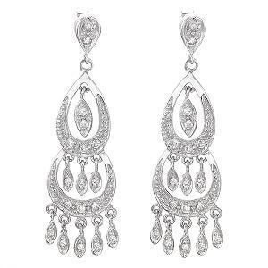 White topaz 925 sterling silver chandelier earrings 66g 009 white topaz 925 sterling silver chandelier earrings 66g 1 aloadofball Gallery