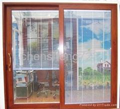 aliminum sliding doors with shutter inside