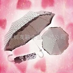 蕾丝花边三折小洋伞