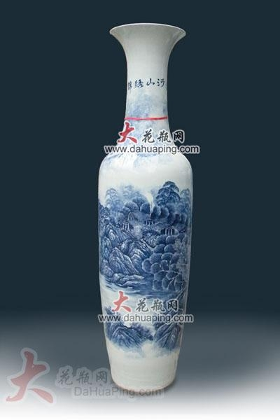 景德镇青花瓷器大花瓶|山水画 - dahuaping (中国)