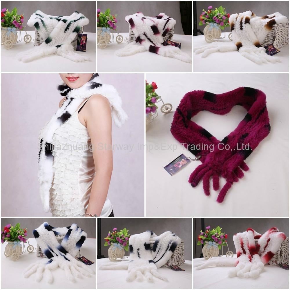 Rabbit Fur Scarves Fur Scarf Fur Shawl With Flowers Fur 7 Colors 1