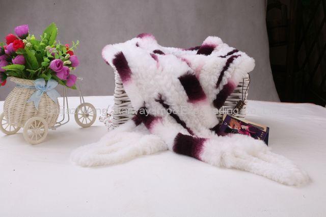 Rabbit Fur Scarves Fur Scarf Fur Shawl With Flowers Fur 7 Colors 2