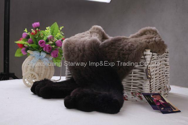 Rabbit Fur Scarves Fur Scarf Fur Shawl With Flowers Fur 11 Colors  4