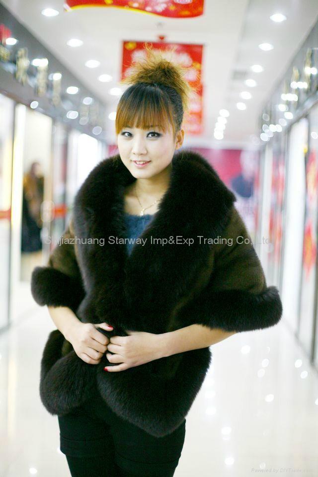 Rex Rabbit Fur Poncho Fur Cape Rex Fur Scarves Fur Wraps Fur Shawl With Fox Fur  3