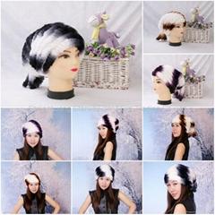 Women's Fur Hat Rex Rabbit Fur Hat Fur Cap Rex Rabbit Fur Headgear Fur Chapeau G