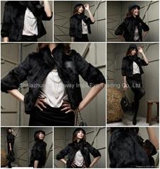 Women's Rabbit Fur Coats Rabbit Fur  Jackets Z22 Black