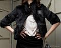 Women's Rabbit Fur Coats Rabbit Fur  Jackets Z22 Black 3