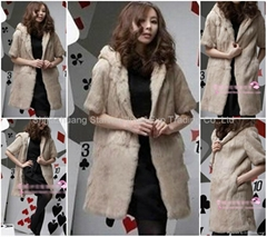 Women's Rabbit Fur Vest Coats Fur Jacket With Cap Apricot 1Z