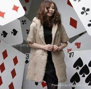 Women's Rabbit Fur Vest Coats Fur Jacket With Cap Apricot 1Z 2