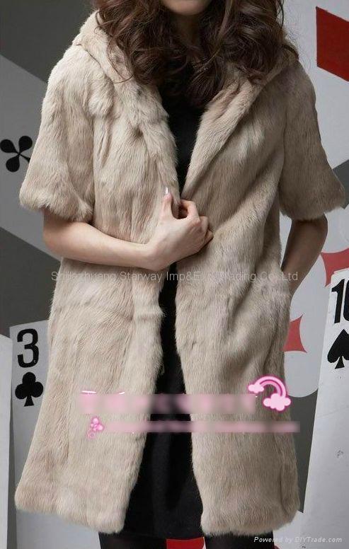 Women's Rabbit Fur Vest Coats Fur Jacket With Cap Apricot 1Z 4