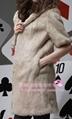 Women's Rabbit Fur Vest Coats Fur Jacket With Cap Apricot 1Z 5