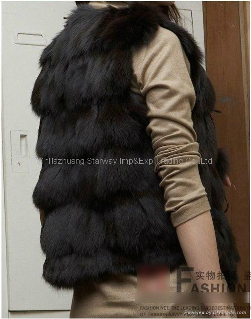 Women's Fox Fur Vest Fox Fur Coats Fox Fur Jackets Z41 Black 2