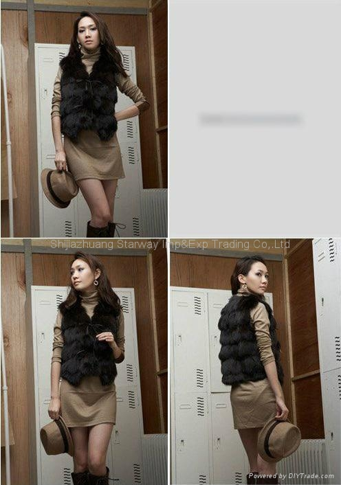 Women's Fox Fur Vest Fox Fur Coats Fox Fur Jackets Z41 Black 4