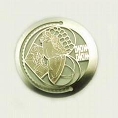 round etch metal bookmark