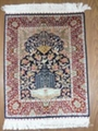 Hand knotted silk carpet Hereke design