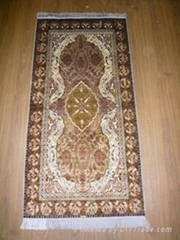 Hand knotted silk carpet Antique silk rug