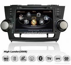 豐田漢蘭達車用多媒體導航帶DVD收音藍牙3G/WIFI觸摸屏