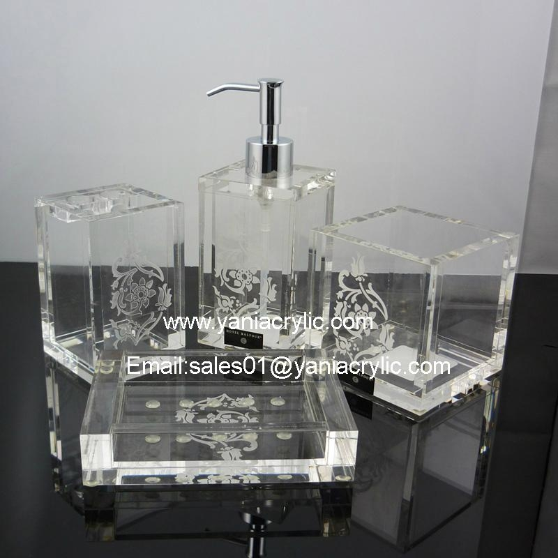 4 pcs acrylic bathroom accessories sets bymengya china for Bathroom accessories acrylic