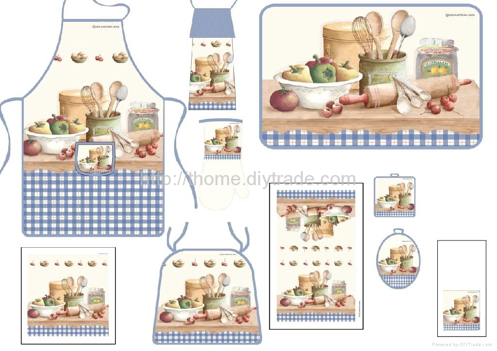 Apron ,kitchen towel ,over mitten and pot holder  4