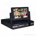 4 Channel H.264 Standalone DVR combo with 7 Inch LCD Monitor all-in-one DVR cctv
