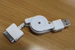 Retractable USB Charging & Data Transferring Cable for  iPod & iPhone 4/3GS/3G