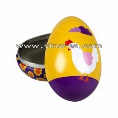Egg-shaped tin box