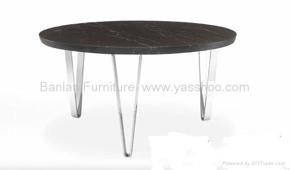Modern Natural Marble Dining Table With Stainless Steel Base DT1122 Yassh