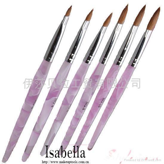 Pink Satin Professional Acrylic Nail Brush Oval #10 - artnail.