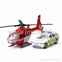 1:43 die-cast model emergency car and helicopter play set