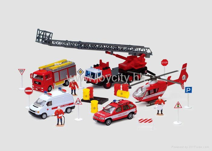 1 43 Die Cast Model Emergency Car And Helicopter Play Set