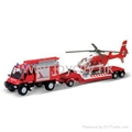 1:43 die-cast model emergency car and helicopter play set 4