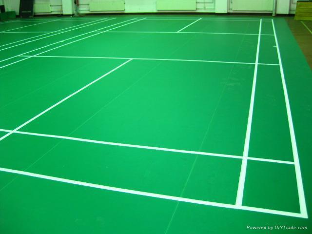 Pvc vinyl sports floor for badminton court yc yichen for Sport court flooring cost