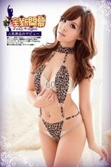 6003新款豹纹三点装 连体性感内衣 性感豹纹三点装