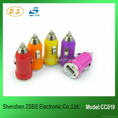 Mini color car charger usb 5V 1000mA for iphone 4s