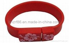 Fashion Silk Screen Printed USB Silicone Wristband
