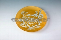 Tempered glass tableware with silk-screen design